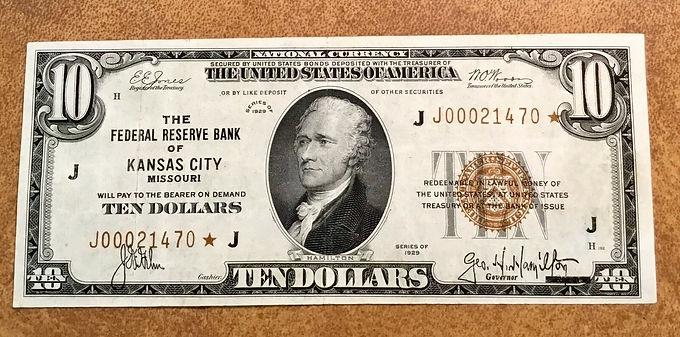 Fr 1860-J 1929 $10 Star note very nice, crisp Kansas City, MO FRN