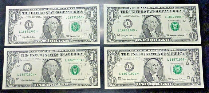 1999 $1 Federal Reserve Notes 4 Consecutively numbered STAR Notes L/*