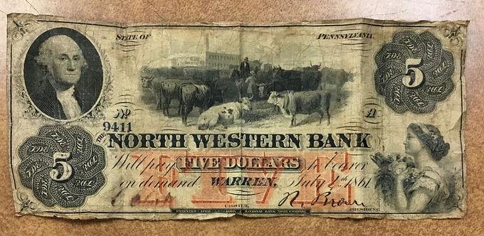 1861 $5 North Western Bank Warren, Pennsylvania CIVIL WAR Era Circulated