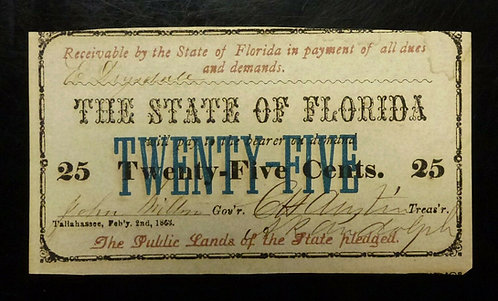 1863 25 cent Note, State of Florida Tallahassee CR-24 XF/AU