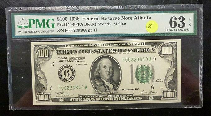 1928 U.S. $100 Federal Reserve Note ATLANTA PMG graded 63 EPQ