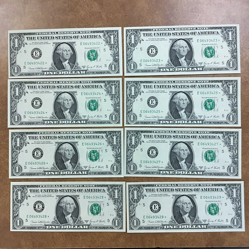 1969-D $1 Federal Reserve 19 Consecutively numbered STAR notes Richmond VA E