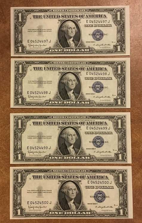 4 consecutive 1935-H $1 Silver Certificates E-J Block Fr 1618 Uncirculated