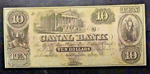 1850s CANAL BANK OF NEW ORLEANS $10 BANKNOTE CRISP Remainder