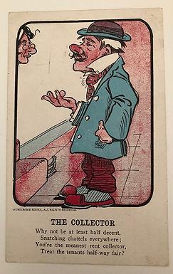 COMIC Vintage 1908 Postcard The (Rent) Collector CARTOON