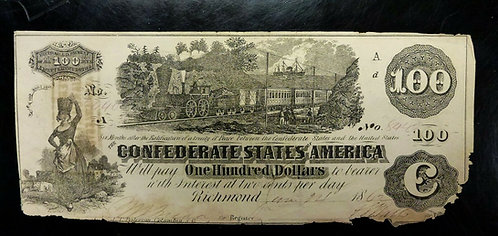 1862 $100 Confederate Note CSA Type 39 Elongated A at top