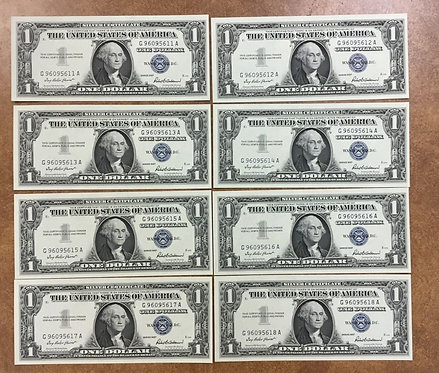 1957, 8 Consecutive Uncirculated nice SILVER certificates, Block letters G/A