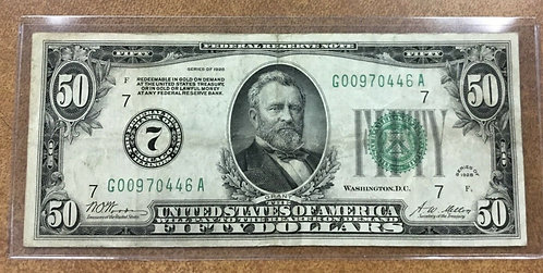 FR. 2100 G $50 1928 Federal Reserve Note Chicago 7 was redeemable in Gold