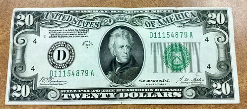 1928 B $20 FRN D Cleveland was Redeemable in Gold till 1933