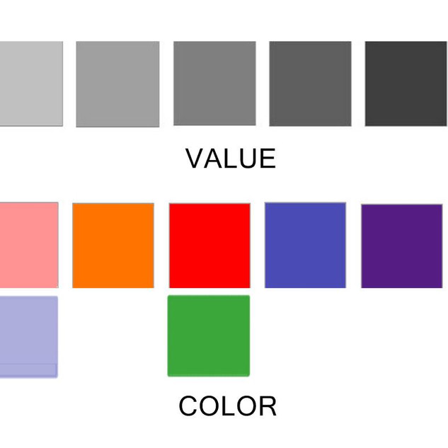 Every color has a value.