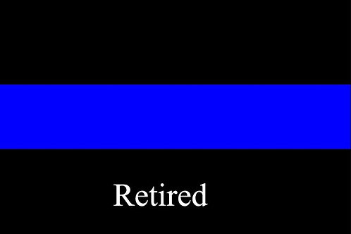 Thin Blue Retired Line Motorcycle Flag