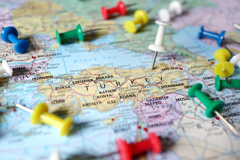 pushpin on the territory of Turkey on wo