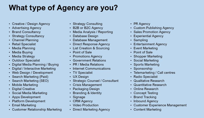 What type of agency are you starting?