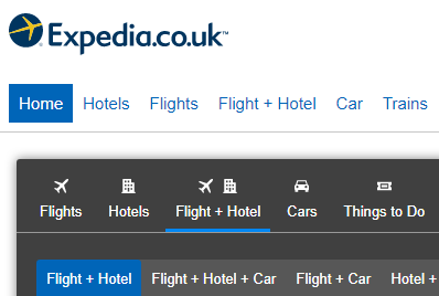 Example of Expedia with a Homepage button