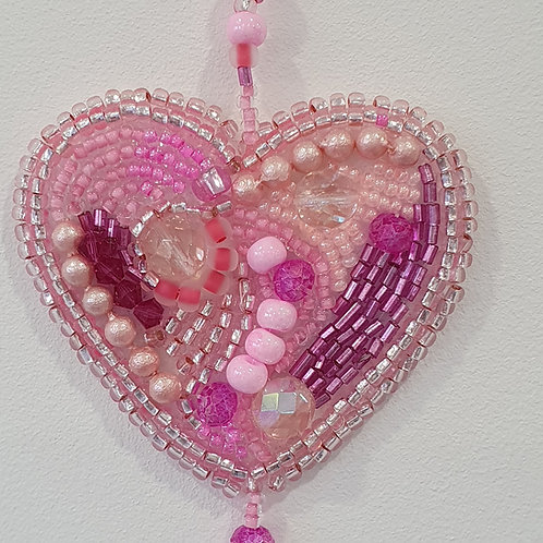 Custom order bead embroidered heart decoration