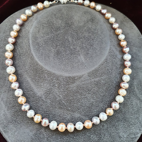 Natural coloured cultured pearl necklace