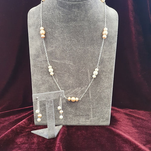Pearl and sterling silver station necklace and earrings set