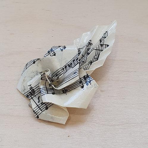 large vintage sheet music rose hair clip