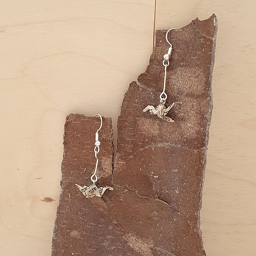Herbal book tiny bird earrings