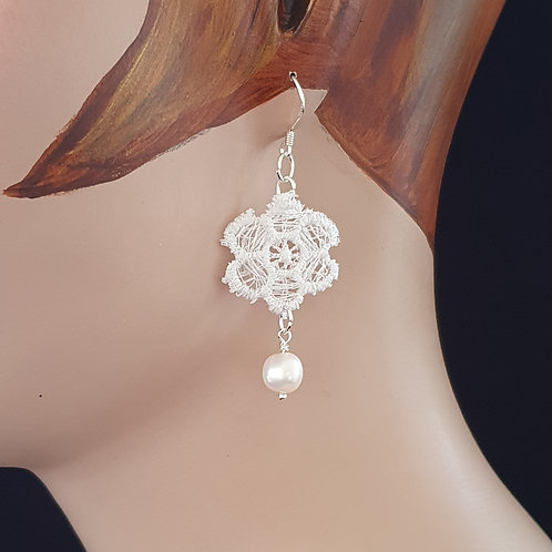 White pearl and lace earrings