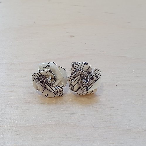 vintage sheet music rose studs