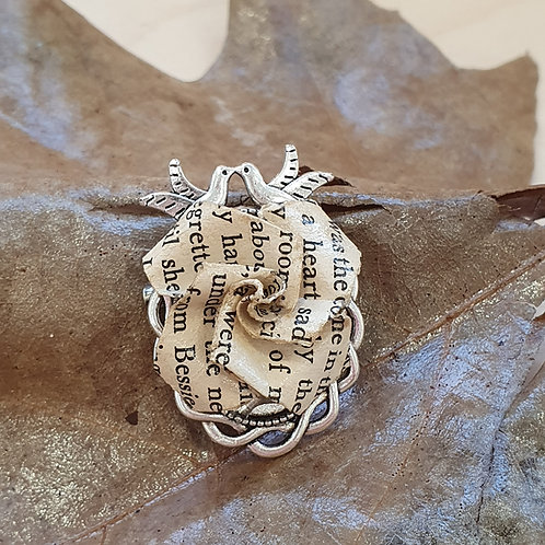 Rose and doves book paper brooch
