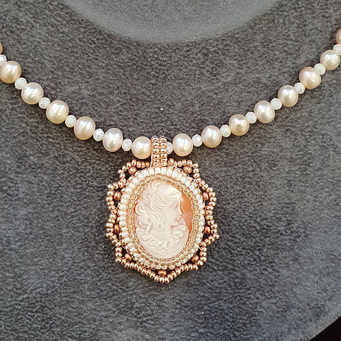 Genuine cultured pearl and vintage cameo necklace