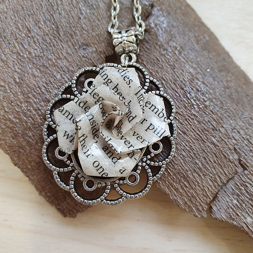 Classic children's book vintage style rose pendant