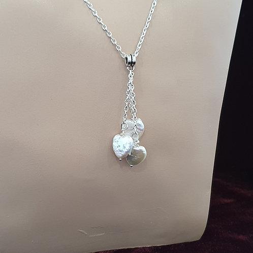 Triple pearl heart pendant