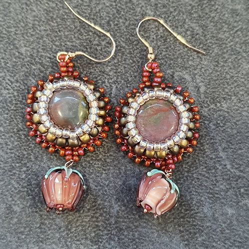 Agate and lamp work bead drop earring
