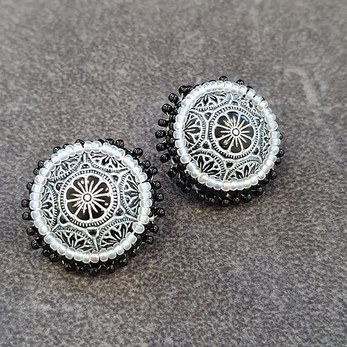 Statement black and white stud earrings