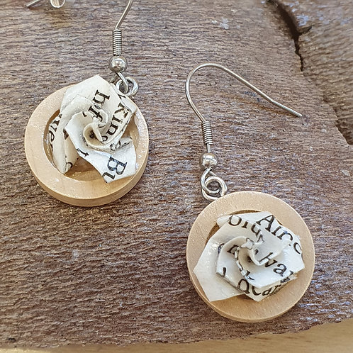 Wood and book paper earrings made from copies of children's classics