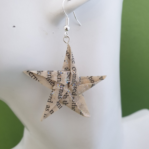 Recycled paper star earrings