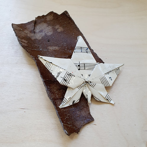 recycled paper leaf brooch