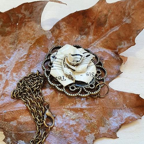 Vintage style rose pendant,  eco-friendly