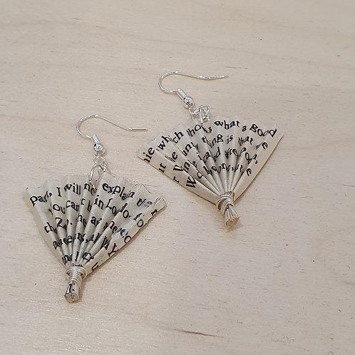 Book paper fan earrings children's classics