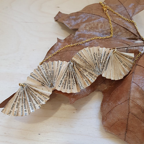 Great Gatsby recycled paper necklace pendant, eco-friendly