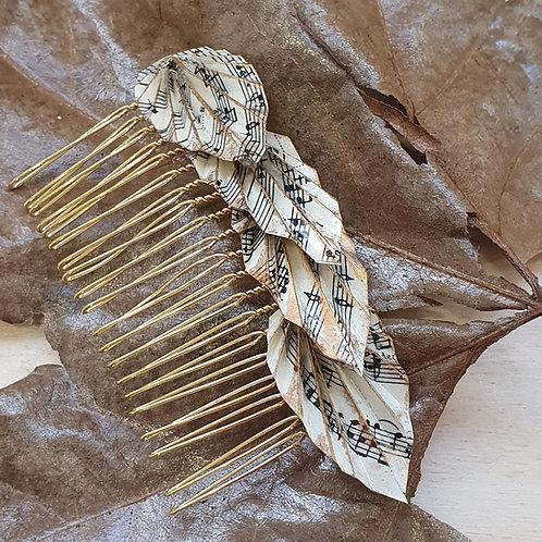 Vintage sheet music leaf hair comb