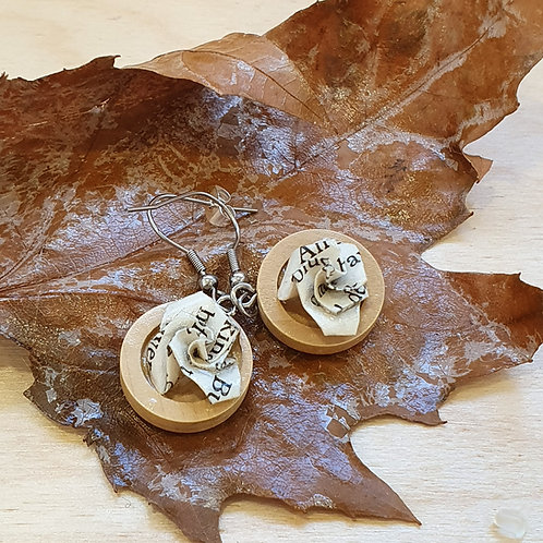 Wood and book paper earrings