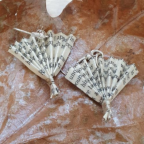 Herbal book fan earrings