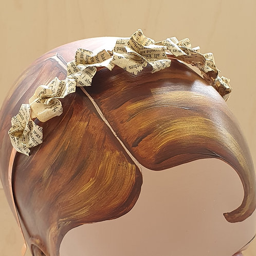 Simple recycled paper rose crown for eco-friendly wedding