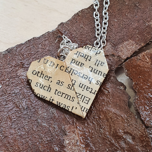 Austen, Bronte or Alcott heart pendant