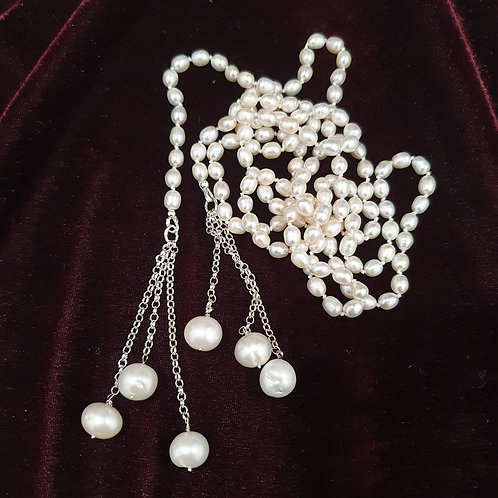 Very long white pearl lariat necklace