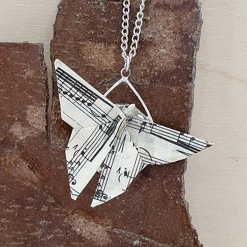 Vintage sheet music butterfly pendant