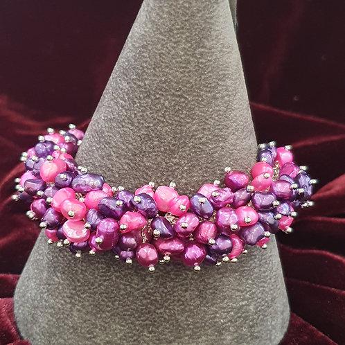 Pink and purple bubble bracelet
