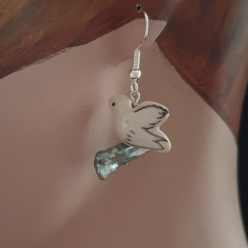 Bird earrings, bird dangle earrings, bird lover gift,