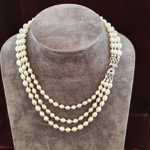 Multi-strand pearl necklace, hand knotted pearl necklace,