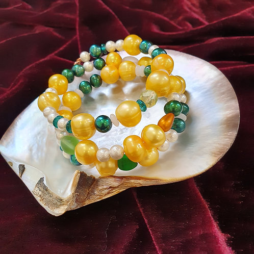 Yellow and green statement bracelet