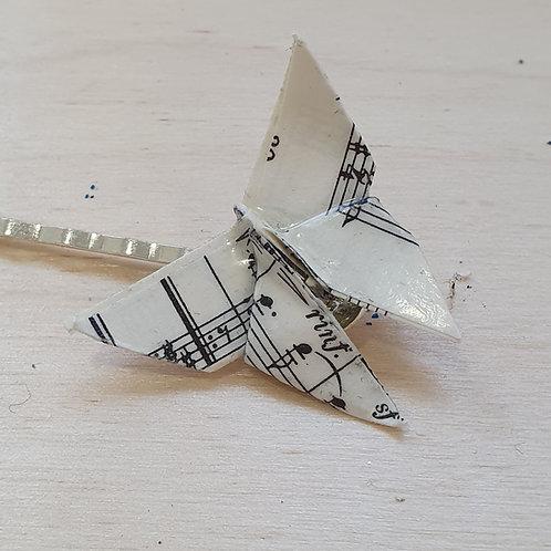 Sheet music butterfly hair grip