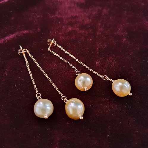 Pull through effect drop earrings, natural metallic pearl & rose gold